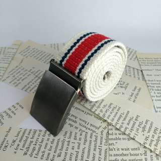 Kid's Red-Blue-White Box-frame Type Buckle Belt