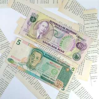 5 Peso and 100 Peso Bill