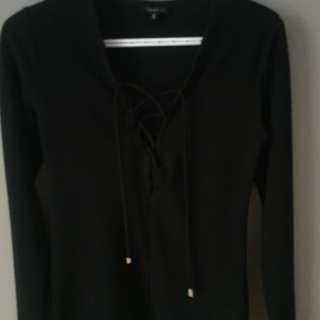 Dynamite black lace up blouse