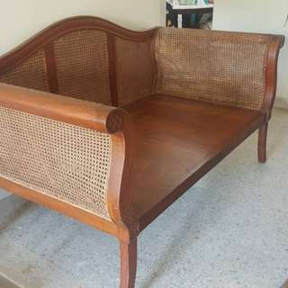 Antique teakwood rattan day bed