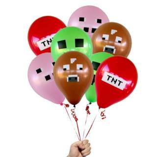 New 10 pcs Minecraft Balloons Creeper Pig Enderman Ghast Cow