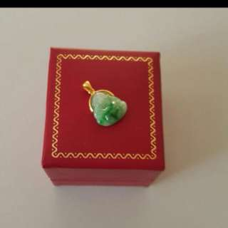Grade A Myanmar Jadeite With Solid 916K Gold Beautiful Green Pendant