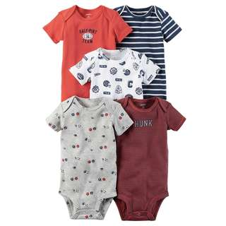 CARTER'S Baby Boy 5-Pack Short Sleeve Bodysuit Sports Onesie Red Onesie 12M
