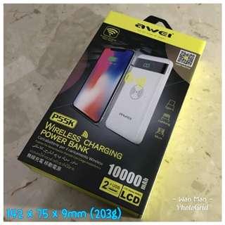 AWEI 10000mAh wireless charging power bank 無線充電器