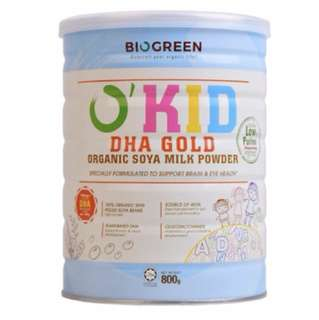 Biogreen o'kid organic soya milk