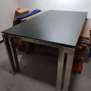 Black Glass Top Dining Table (Brand: OM)