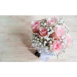Rustic pink romance fresh roses & baby's breath  bridal bouquet (Wedding / ROM/ /Engagement Bridesmaid / Proposal/ Anniversary)