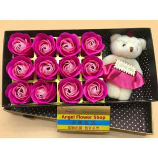 soap flower 12pcs with bear