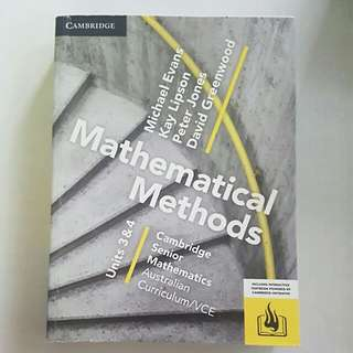 Mathematical Methods Units 3 and 4 Cambridge Textbook
