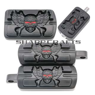Black skull wings Harley Sportster XL 883 1200 softail Dyna Touring Street 750 XG500 Foot rest Footrest Footpegs pegs pad cover pedal brake gear shift