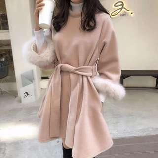 🚚 復古韓版收腰櫻花粉色連衣裙