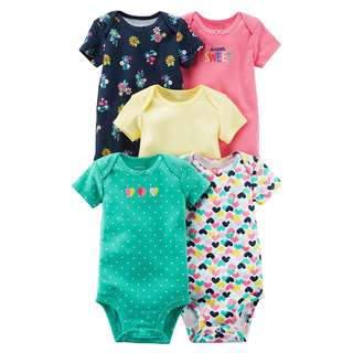 CARTER'S Baby Girl 5-Pack Short Sleeve Bodysuit Pink Bodysuit Floral 6M