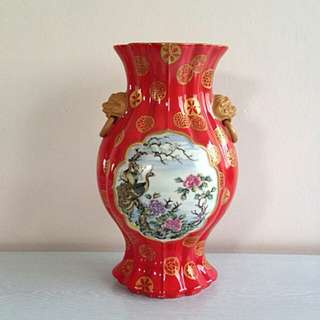 Red Vase with enamel painting height 31cm perfect