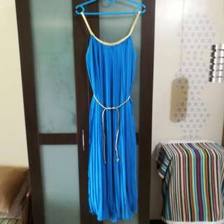 Blue Cocktail Dress (Full-Length, Free Size)