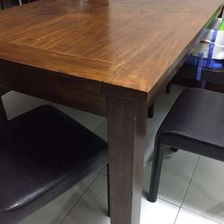 Teak Dining Table + 2 Chairs