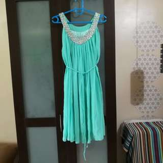 Aqua-Colored Cocktail Dress (Free Size)