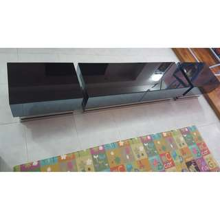 CNY Clearance - Tempered Glass Tv Console + Coffee Table + 2X Side Table