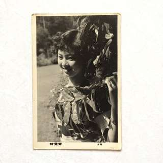 Vintage Old Photo - Black & White Photograph showing a young lady (9 by 14 cm)