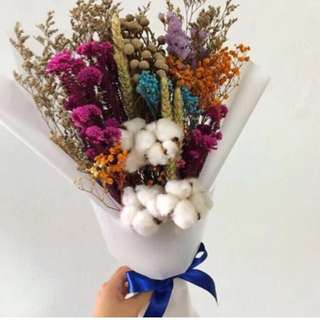 Dried Flower Bouquet with Cotton Flower