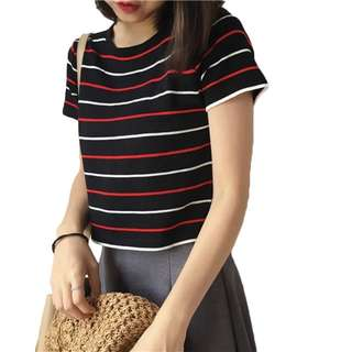 Knitted stripe t shirt