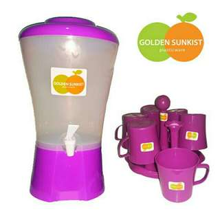 1 set dispenser + gelas cantik rak ungu