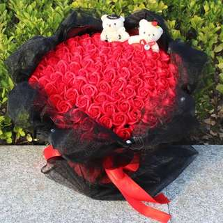 99 Red Soap Roses + 2 Lovely Bears Bouquet + Black Wrapper