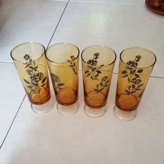 Amber footed glasses from the 70s