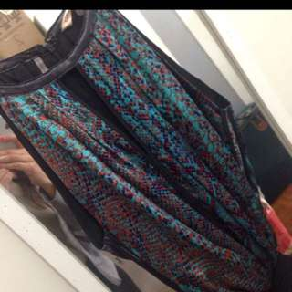 Rebecca Taylor Turquoise animal print silk mini dress