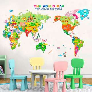 Cartoon world map wall stickers bedroom creative children's room decorations early learning learning wall stickers/Home Decor ( With Country Flag and Name )