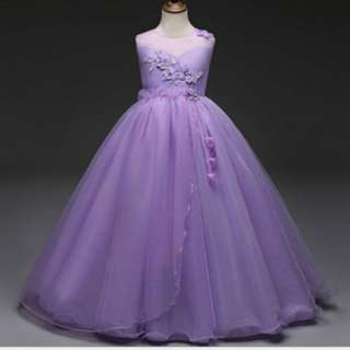 DRS 0584 Baju Pesta Anak Import Elegant Dress Party Long Dress Flowery Purple DRS-0584
