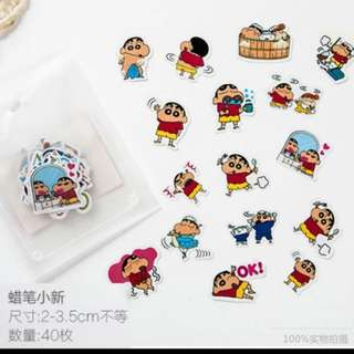 Stickers, line characters, doraemon and la pi xiao xin