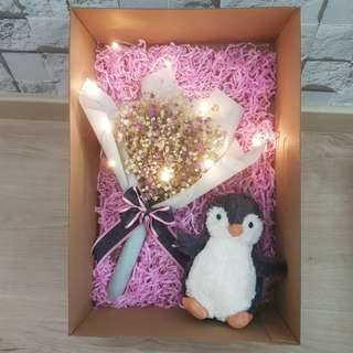 ($38) Baby breath with penguin plushie