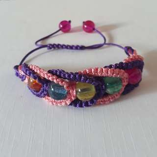 "💐""Gummy"" Tourmaline in macrame bracelet (bead size 8mm). Very nice crystal and colour combination."