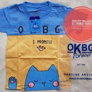 Baju kaos oblong OKBG size 2,4,6,8,10 fit 2-7thn