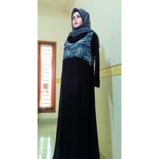 Preloved Long Dress Sifon + Inner Panjang