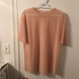 Zara pink/salmon mesh see through t-shirt