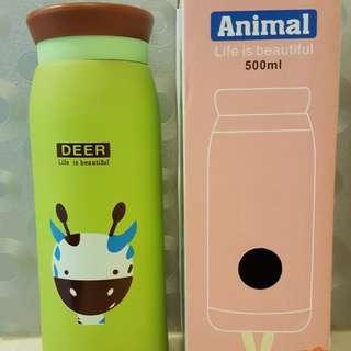 全新-Animal不銹鋼可愛動物500ML保溫杯小鹿款/容量:500ml