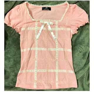 粉色方領棉質上衣