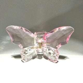 全新高透亮淡粉紅漸層仿水晶蝴蝶大髮夾