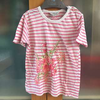 flowery stripes pink t-shirt