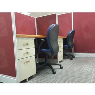 Office Partition*Furniture ( Tables-Chairs -Filing Cabinet )