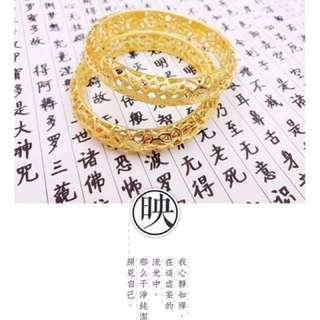 24K 999 Gold Mantra Lotus Bangle