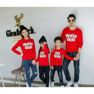 Sweater Couple Keluarga / Baju Couple Keluarga / Family Couple Me Too Merah 2 Anak