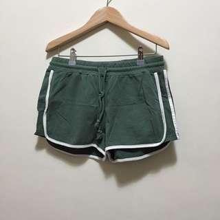 棉質綁帶運動短褲(綠)