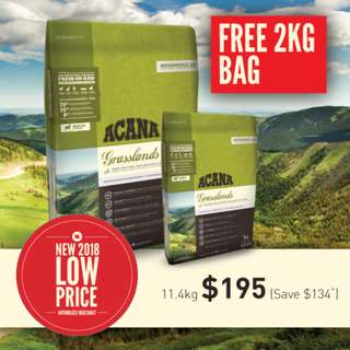 ACANA GRASSLANDS DOG 13.4kg (11.4kg + 2kg)