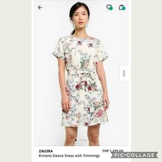 ZALORA KIMONO SLEEVE DRESS WITH TRIMMINGS