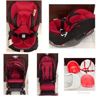 COMBI stroller-car seat & JELLYMUM feeding seat