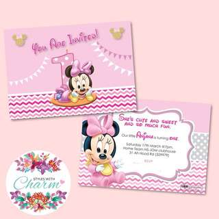 Birthday Invitation Card Minnie Mouse Themed