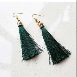 Emerald Green Tassel Earrings PRE ORDER CUT OFF FEB28