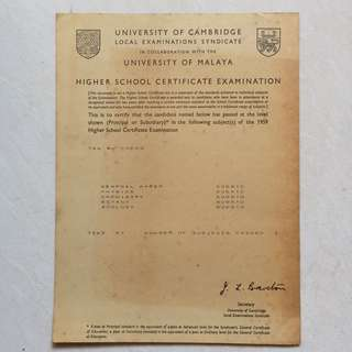 Vintage Old Document - 1959 University of Cambridge Local Examination Syndicate in collaboration with University of Malaya - Higher School Certificate Examination